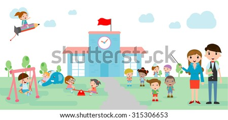 Kids go to school, back to school template with kids, teacher and  students, kids and  playground, Vector Illustration. - stock vector