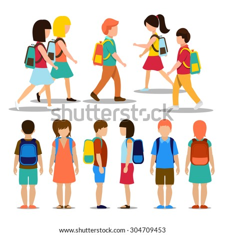 Kids going to school. Student and pupil, education people person, vector illustration - stock vector