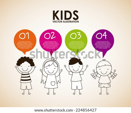 kids graphic design , vector illustration - stock vector