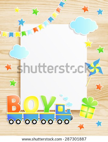 Kids greeting card or invitation for baby boy with train,  pinwheel, stars, flags, photo frame on wooden background. Vector EPS10 - stock vector