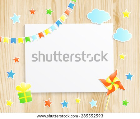 Kids greeting card or invitation for baby little boy with pinwheel, stars, flags, gift box and  photo frame on wooden background. Vector EPS10 - stock vector