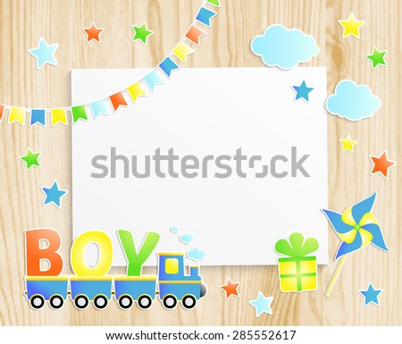 Kids greeting card or invitation for baby little boy with train, pinwheel, stars, flags, gift box and  photo frame on wooden background. Vector EPS10 - stock vector