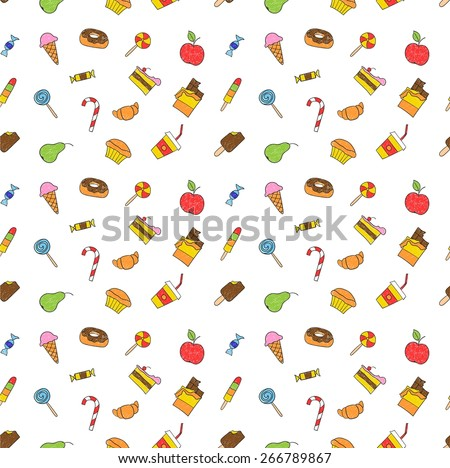 Kids hand drawing tasty food. Cartoon sketch pattern of child vector doodles set: muffin, cake, pie, donut, croissant, confection, sweet, candy, lollipop, ice cream, chocolate, apple, pear, drink - stock vector