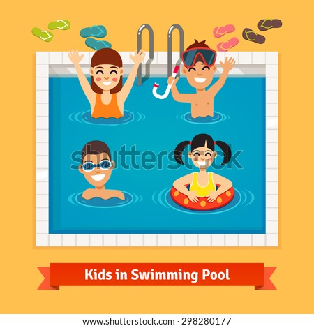 Kids having fun and swimming in the pool. Summer vacation concept. Flat style vector illustration. - stock vector