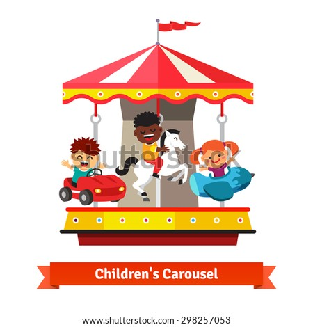 Kids having fun on a carnival carousel. Boys and girl riding on toy horse, plane and car whirligig. Flat vector cartoon illustration isolated on white background. - stock vector