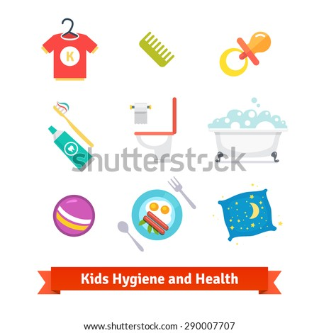 Kids health and hygiene flat vector icons. - stock vector