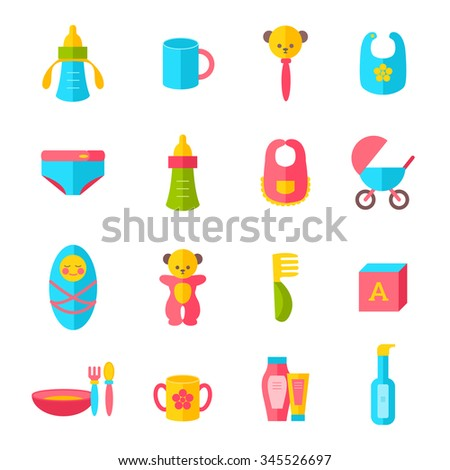 Kids health and hygiene icons. Baby boy, breakfast, cute toys, pram, baby cosmetics, nappy. Flat style vector icons set isolated on white - stock vector