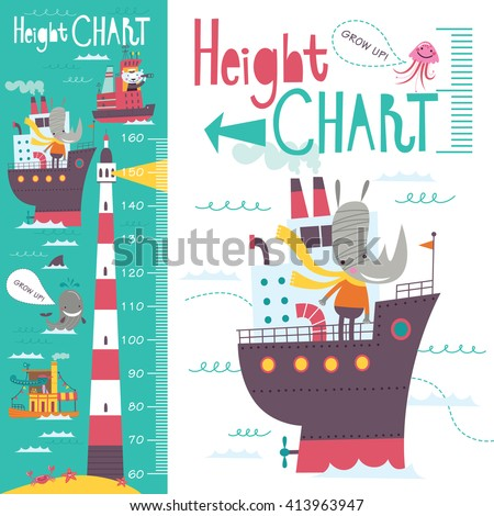 Kids height chart. Vector isolated illustration of cartoon transport and animals on a green-blue background. - stock vector