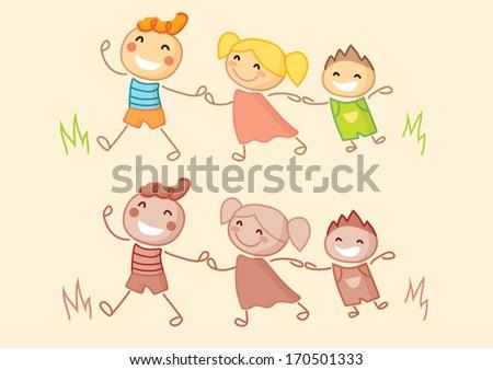 Kids holding hands - stock vector