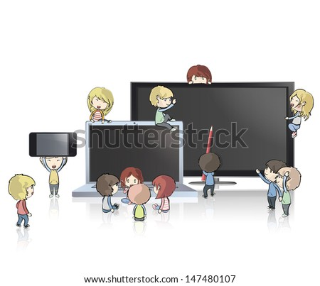 Kids holding TV, computer,CD and phone. Vector design.  - stock vector