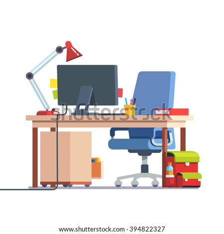 Kids home learning and study desk with casters chair, desktop computer, book, table lamp and school backpack. Front side view. Flat style color modern vector illustration. - stock vector