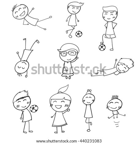 kids icons. Doodle Vector Illustration. - stock vector