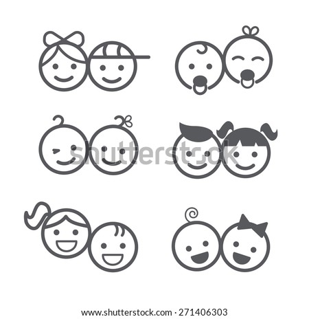 Kids icons set, boys and girls, children symbols, vector illustration - stock vector