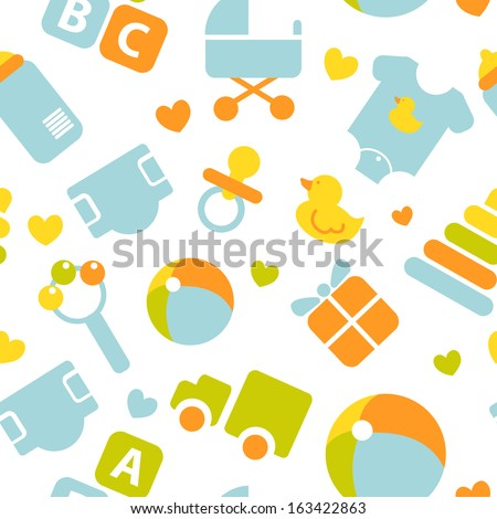 Kids icons set in vector. Design elements for children. Seamless pattern. - stock vector
