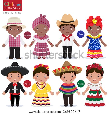Kids in different traditional costumes (Jamaica, Cuba, Mexico) - stock vector