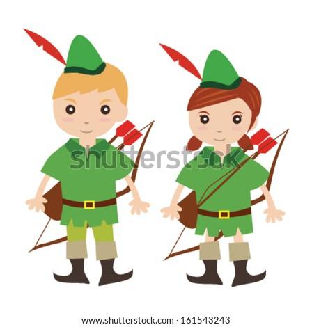 Kids in robin hood costume - stock vector