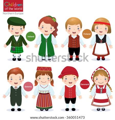 Kids in traditional costume (Ireland, Finland, Estonia and Denmark) - stock vector