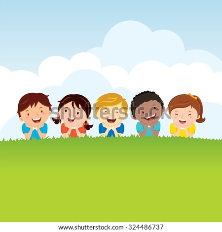Kids lying on the grass. Group of happy children lying on the grass. - stock vector