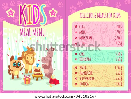 Kids meal menu with animal characters. Food and animal, lion and hippo, event birthday, cola and cheeseburger, pizza and hamburger. Vector illustration template brochure - stock vector