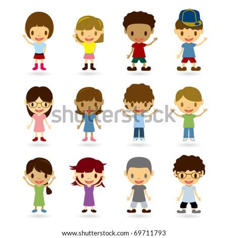 Kids Model Set - stock vector