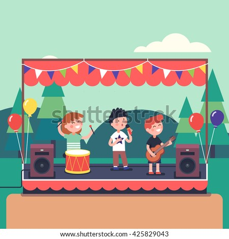 Kids music band playing and rocking at town public park festival. Modern flat style vector illustration cartoon clipart. - stock vector