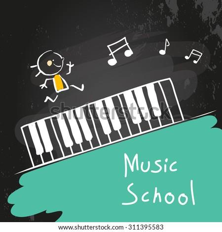 Kids music school, piano keyboard. Vector illustration, chalk on blackboard. - stock vector
