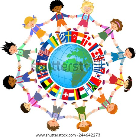 Kids of the world. And Flags - stock vector