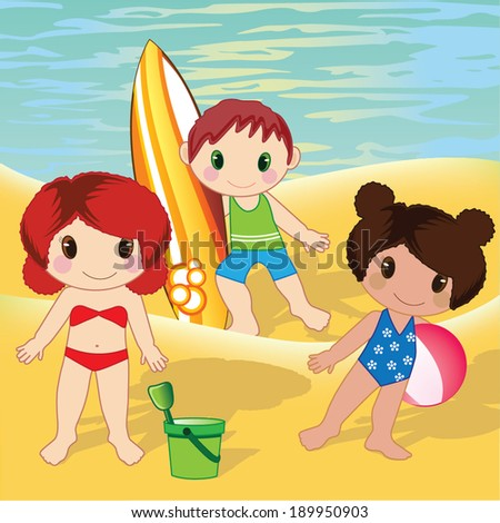 Kids on beach vector - stock vector