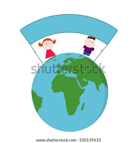 Kids on Earth - stock vector