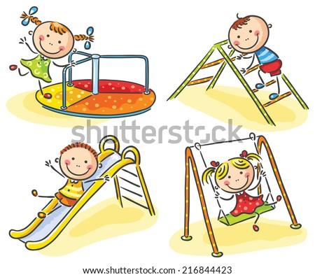 Kids on playground - stock vector