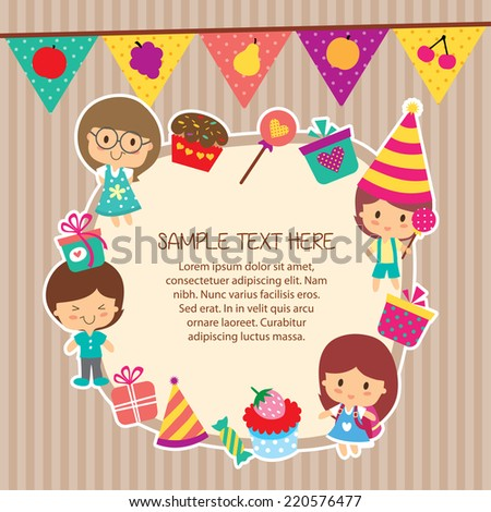 kids party layout frame design - stock vector