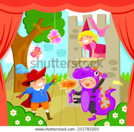 kids performing a theater play - stock vector