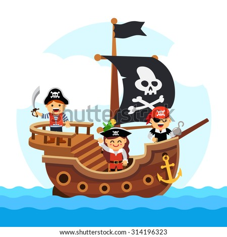 Kids pirate ship sailing in the sea with black flag and sail decorated with scull and cross bones. Flat style vector cartoon illustration isolated on white background. - stock vector