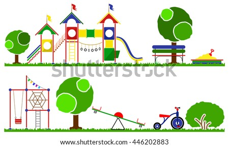 Kids playground color set. Swings, roundabouts trees and the children grass. - stock vector
