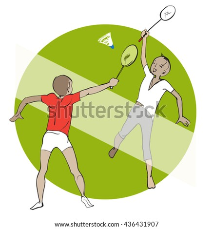 Kids playing badminton outdoor on the grass - stock vector