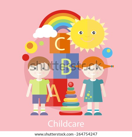 Kids playing construction in the room. Concept of childcare in flat design style. Can be used for web banners, marketing and promotional materials, presentation templates - stock vector