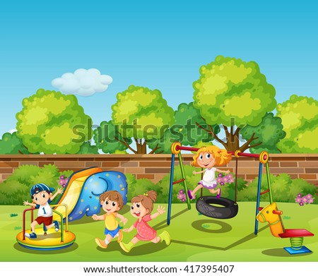 Kids playing in the playground at daytime illustration - stock vector