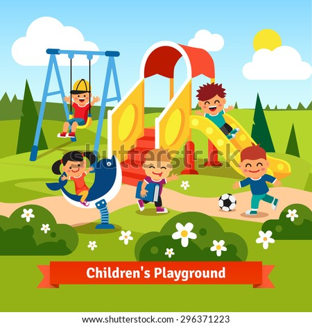 Kids playing on playground. Swinging and sliding children. Flat style vector cartoon illustration. - stock vector
