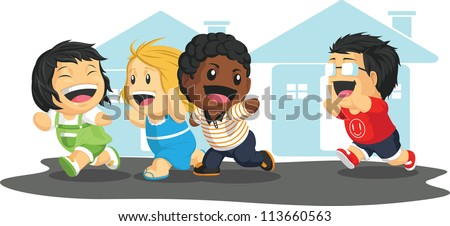 Kids Playing Tag - stock vector