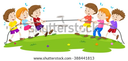 Kids playing tug of war at the park illustration - stock vector
