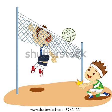 Kids playing volleyball. - stock vector