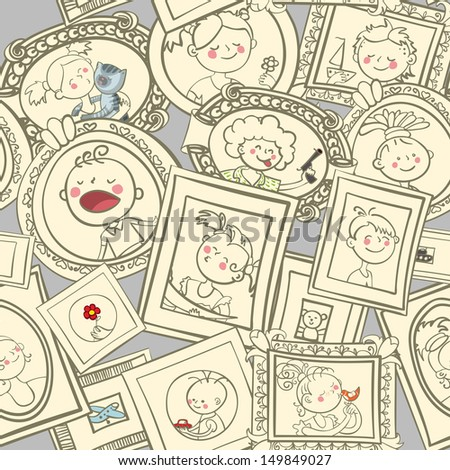 Kids portraits in frames seamless vector pattern - stock vector