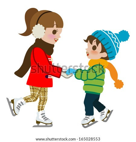 Kids Practicing Ice skate,isolated - stock vector