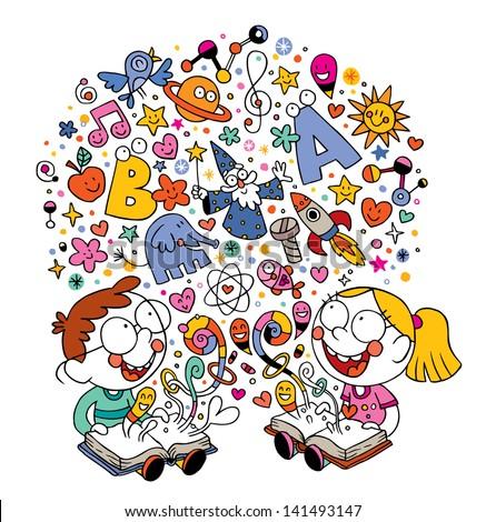 kids reading books - stock vector