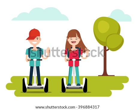 Kids riding segway and gesturing peace sign. Vector illustration of a flat design. Eps 8 - stock vector