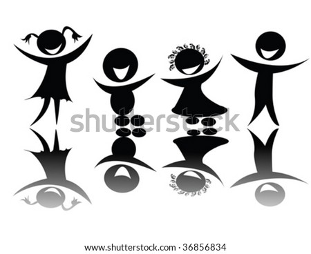Kids silhouette in black and white, editable vector - stock vector