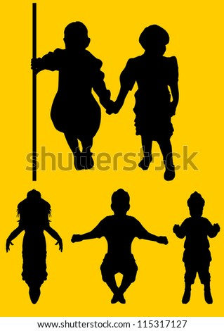Kids silhouette, vector illustration - stock vector