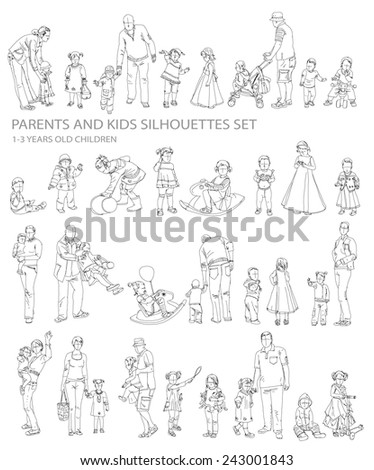 Kids sketch silhouettes  - stock vector