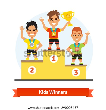 Kids sport winners standing on podium with medals and gold shining cup. Colorful vector illustration. - stock vector
