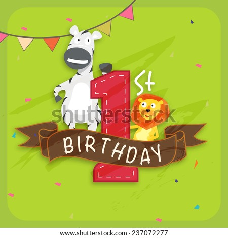 Kids 1st Birthday celebration Invitation card decorated by party flag and cute cartoon of animals. - stock vector
